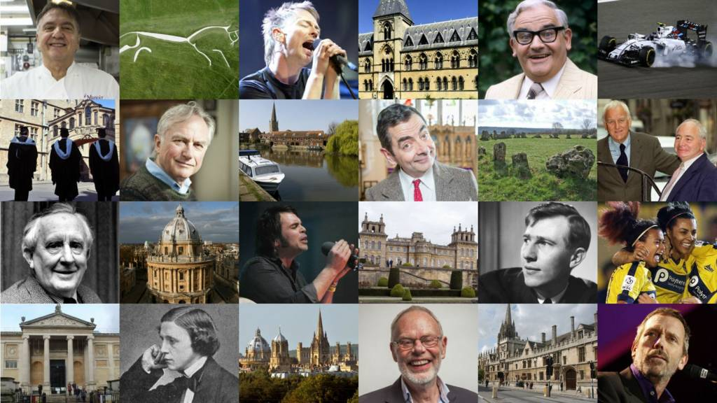 Montage of Oxfordshire's famous faces and places