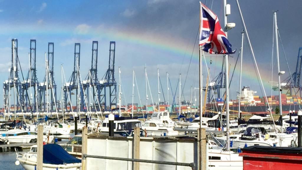 Felixstowe Dock from Shotley Marina