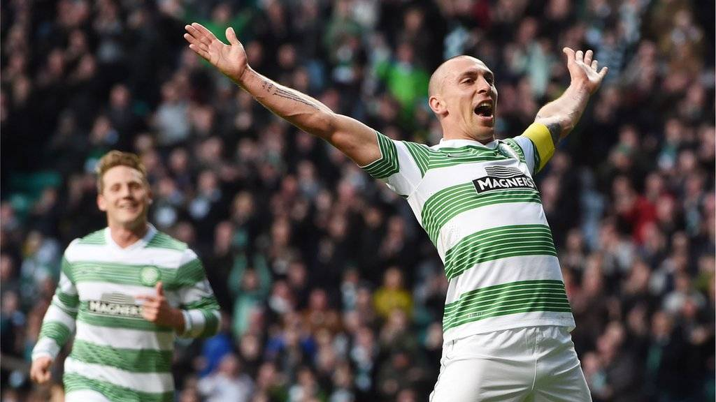 Scott Brown celebrates scoring Celtic's second