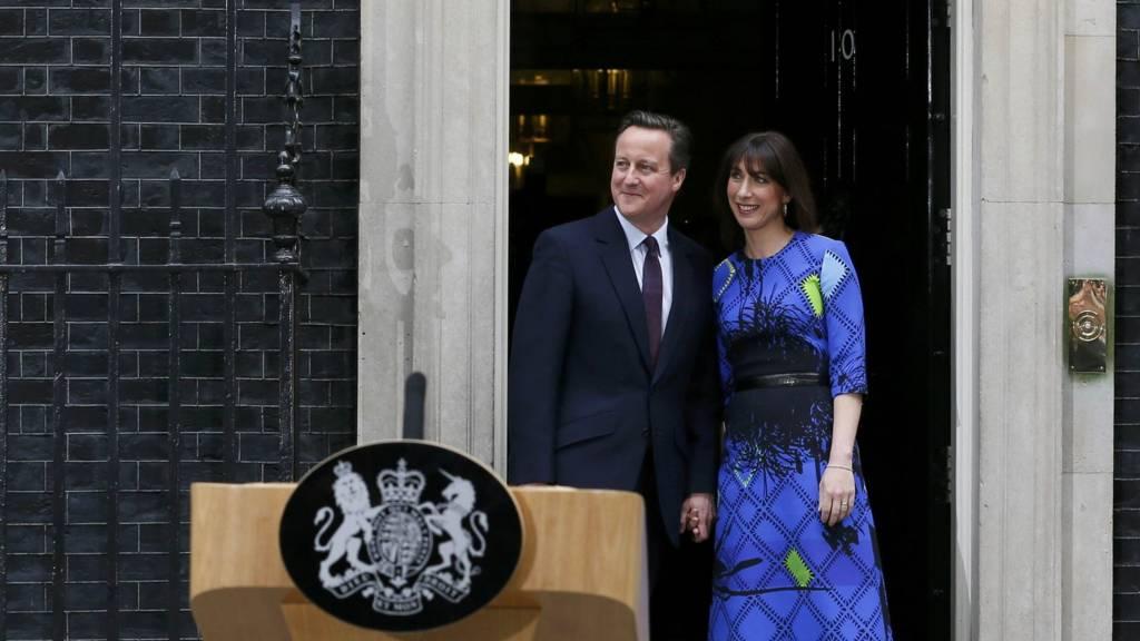 David and Samantha Cameron outside No 10