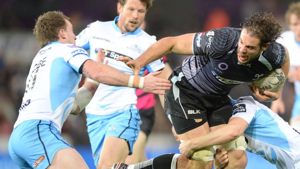 Tyler Adron in action against Glasgow