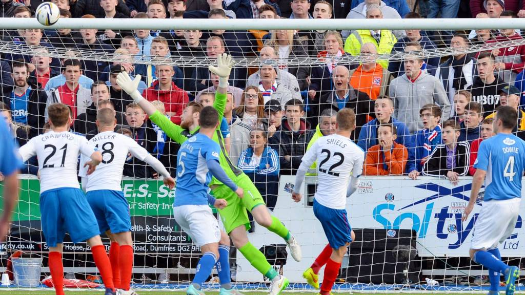 Dean Shiels scores for Rangers against Queen of the South