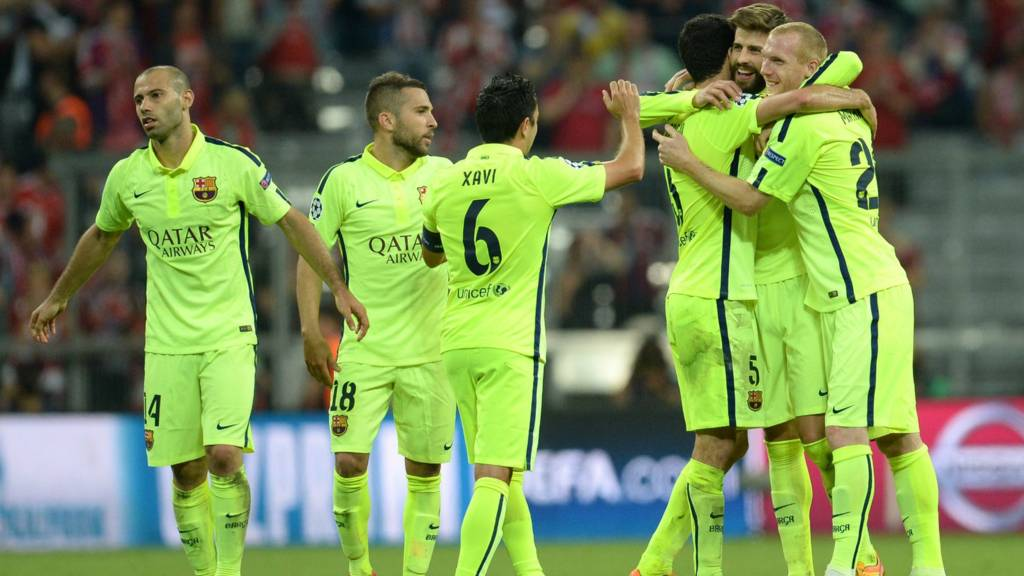 The Barcelona team progress to the final of the Champions League