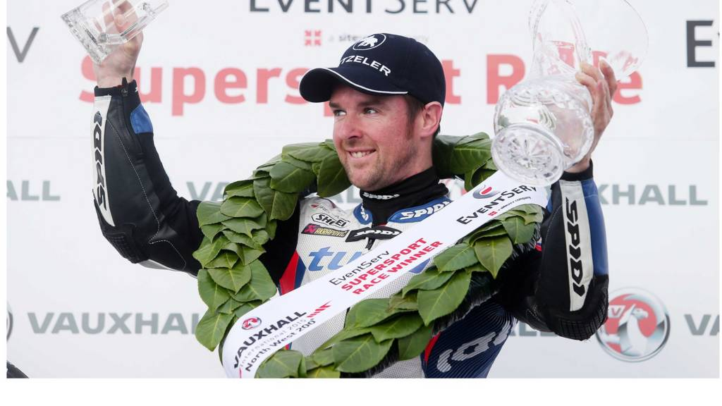 Alastair Seeley celebrates winning the NW200 Thursday Supersport race