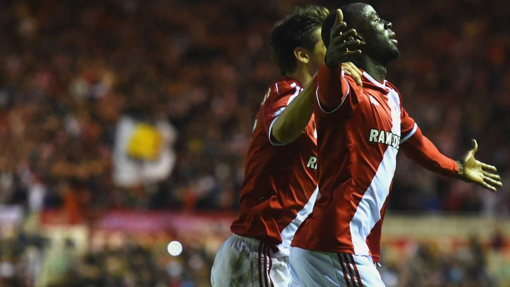 Albert Adomah celebrates scoring Middlesbrough's third