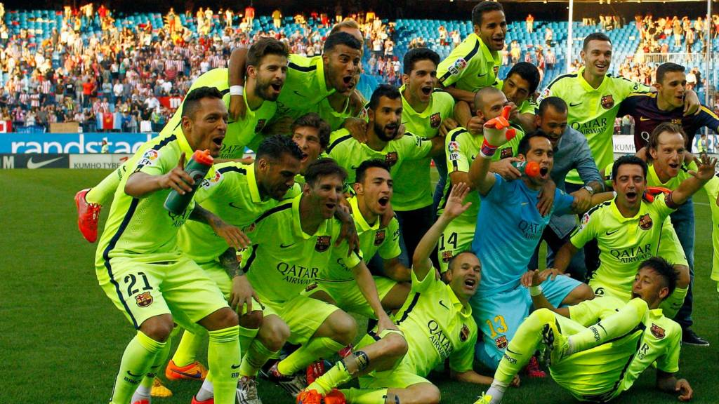 Barcelona celebrate their title win