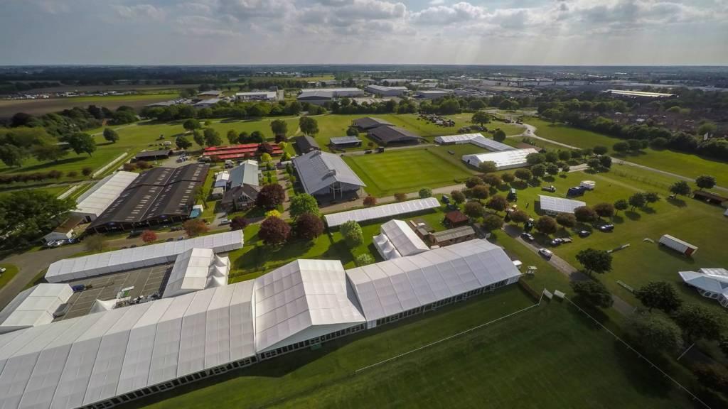 Aerial shot of Suffolk showground