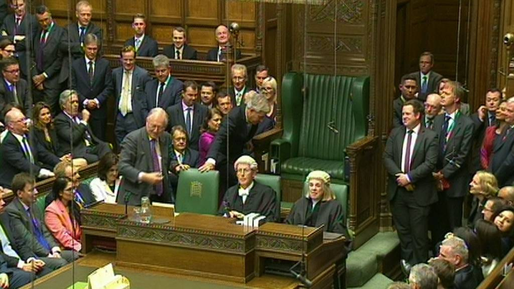 John Bercow is dragged to the chair