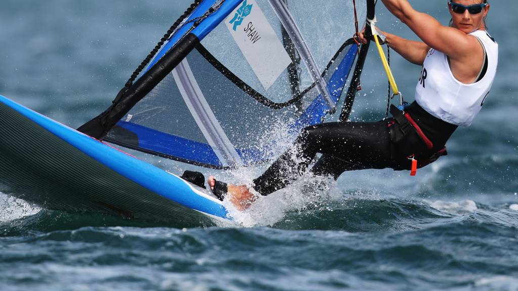 Bryony Shaw competing in the RS:X windsurfing class