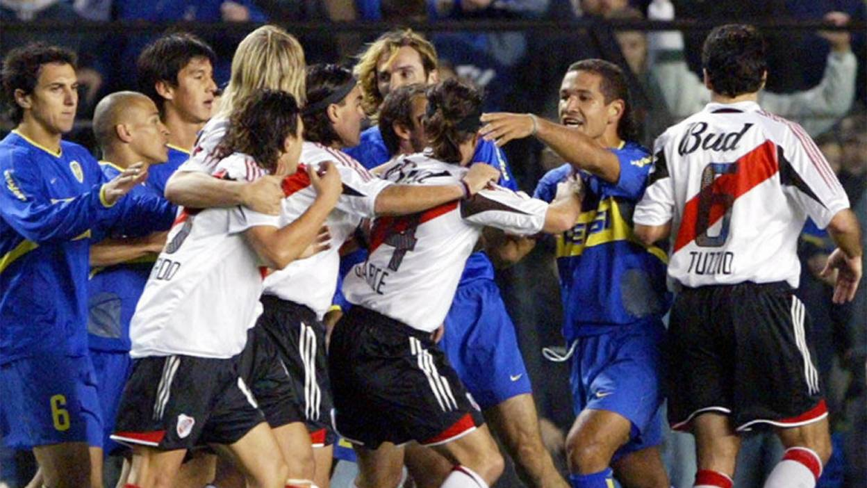 Boca Juniors and River Plate players in a scuffle
