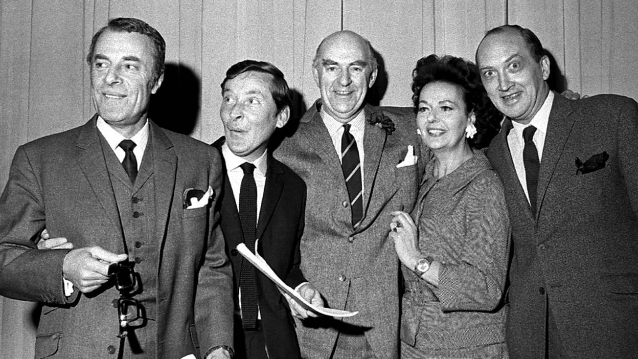 Black and white photograph of Round the Horne cast