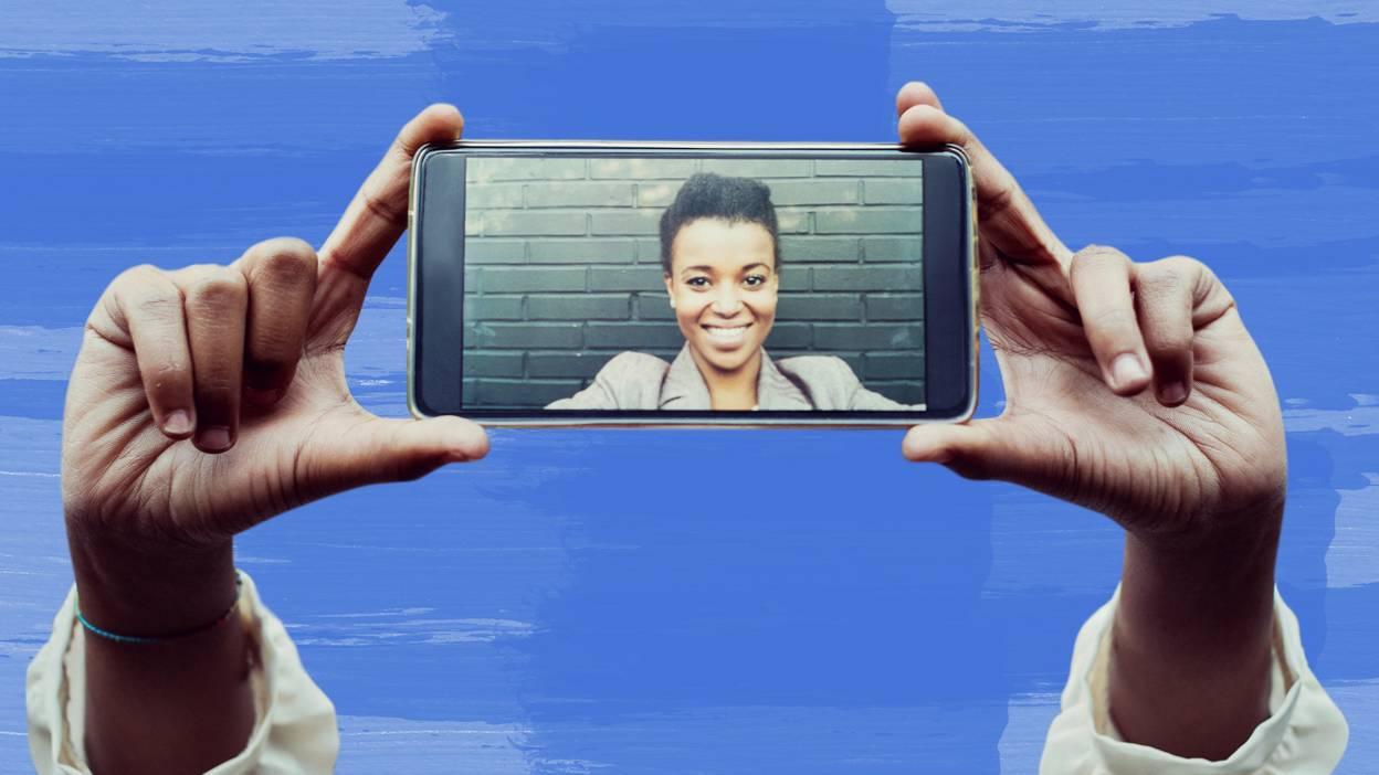 Woman smiling in selfie