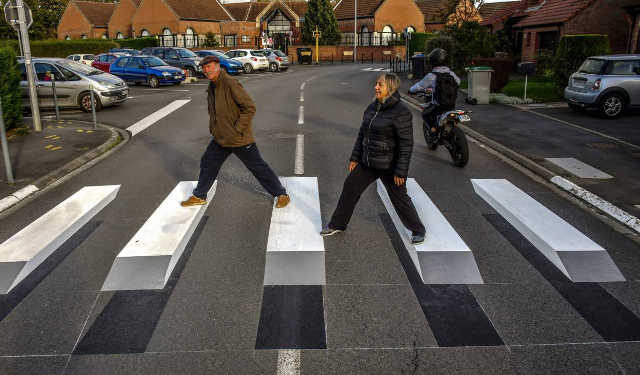 Image result for his Village Has A 3D Zebra Crossing- Future Road Safety For All