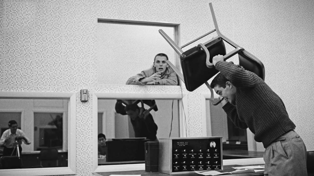 A scene from the Milgram experiment