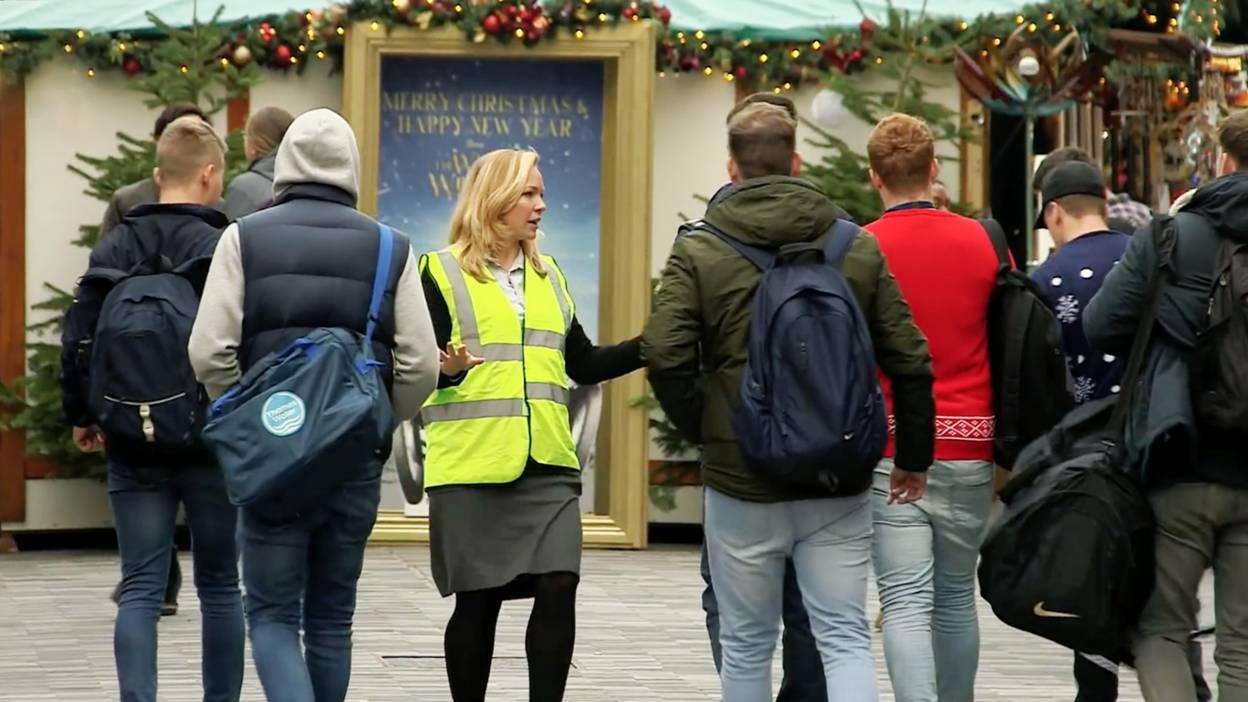 Eline Van Der Velden approaches people in the street