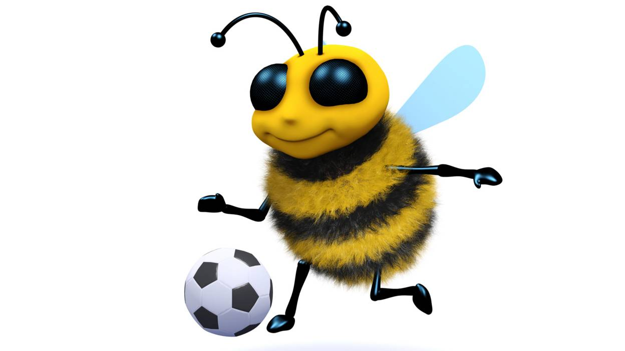 Cartoon bee playing football