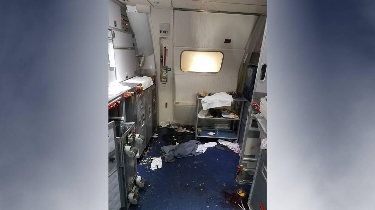 The Delta aeroplane cabin in disarray
