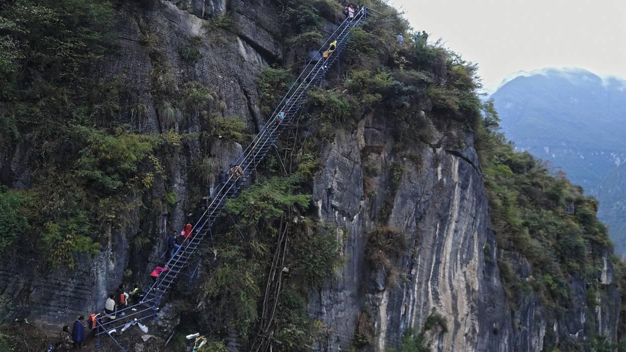 Steel ladders on a mountain