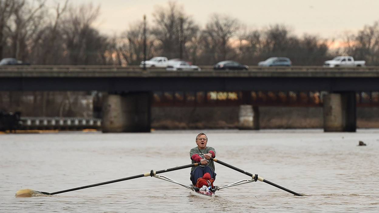 Gabriel Horchler in his 21-foot Vespoli rowing shell