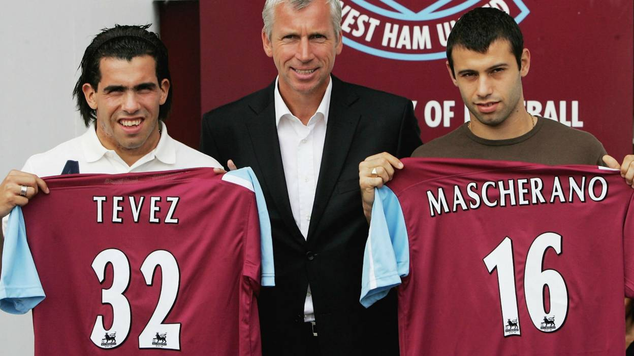 Carlos Tevez, West Ham manager Alan Pardew and Javier Mascherano