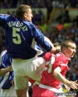 Tony Mowbray rises above Keith Brown to head Ipswich in front against Barnsley in the 2000 Division One play-off final