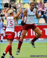 Crista Cullen celebrates scoring against Germany