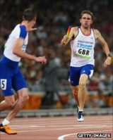 Andrew Steele (right) in the Beijing 4x400m relay