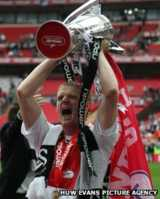 Alan Tate celebrates play-off final win over Reading