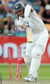 Chris Martin is clean bowled