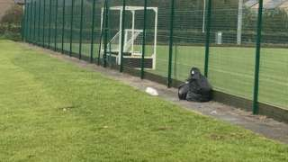 Rubbish left behind at Ysgol Alun and Ysgol Maen Garmon's campus