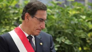 """Peru""""s President Martin Vizcarra attends a swearing-in ceremony at the government palace in Lima, Peru October 3, 2019"""