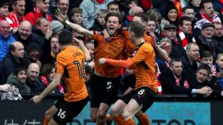 Richard Stearman was able to celebrate his first-minute goal at Anfield with former Liverpool midfielder Conor Coady