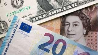 Pound, dollar, euro notes.