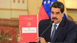 President of Venezuela Nicolas Maduro attends a Government Council at the Miraflores Palace in Caracas, Venezuela, 31 March 2020.