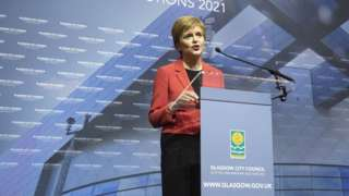 First Minister and SNP party leader Nicola Sturgeon on stage after retaining her seat for Glasgow Southside at the count for the Scottish Parliamentary Elections at the Emirates Arena, Glasgow. Picture date: Friday May 7, 2021