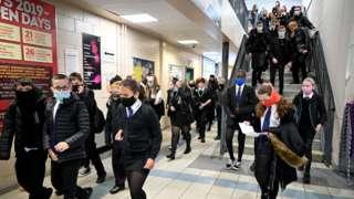 pupils in school corridor