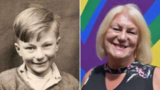 Composite image of Carolyn Mercer (left as a young boy, right at the age of 72)