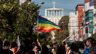 Members of social organizations and communities of gays, lesbians, transsexuals and heterosexuals demonstrate in Osorno on 16 March 2019