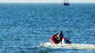 Police surveillance of the dinghy on a test run