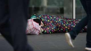 Man sleeping on the streets