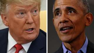 US President Donald Trump and his predecessor Barack Obama