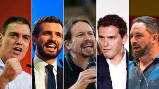 Leaders of Spain's main political parties