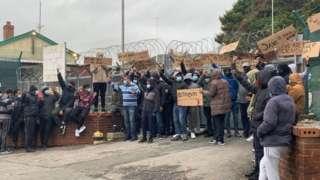 Protestors outside Penally