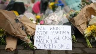 Flowers at Sarah Everard vigil