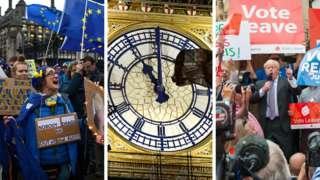 A pro-EU protester, Big Ben and Boris Johnson speaking at a rally