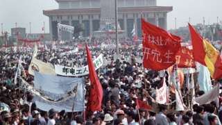 Protesters on Tiananmen in 1989