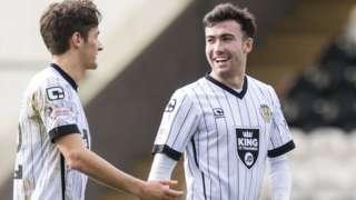 Stevie Mallan (right) shares a joke in action for St Mirren
