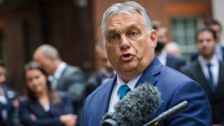 Prime Minister of Hungary, Viktor Orban speaks to the media after his meeting with British Prime Minister Boris Johnson, at n10 Downing Street in London, Britain, 28 May 2021s