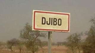 A road sign for Djibo in Burkina Faso
