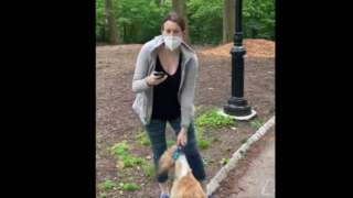 Christian Cooper feem Amy Cooper after she refuse to stop her dog from running around di area